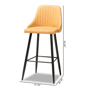 WALTER MID-CENTURY CONTEMPORARY TAN FAUX LEATHER UPHOLSTERED AND BLACK METAL 4-PIECE BAR STOOL SET