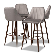Load image into Gallery viewer, BAXTON STUDIO WALTER MID-CENTURY CONTEMPORARY GREY VELVET FABRIC UPHOLSTERED AND WALNUT FINISHED 4-PIECE BAR STOOL SET - Exquisite Home Furnishings Powered by IEE Brothers LLC