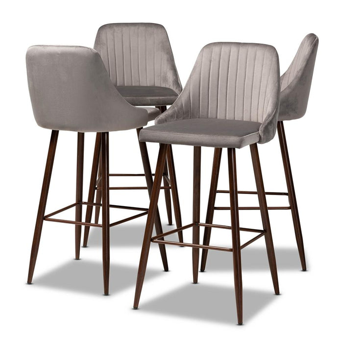BAXTON STUDIO WALTER MID-CENTURY CONTEMPORARY GREY VELVET FABRIC UPHOLSTERED AND WALNUT FINISHED 4-PIECE BAR STOOL SET - Exquisite Home Furnishings Powered by IEE Brothers LLC