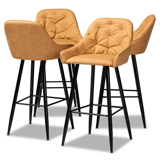CATHERINE MODERN AND CONTEMPORARY TAN FAUX LEATHER UPHOLSTERED AND BLACK METAL 4-PIECE BAR STOOL SET - Exquisite Home Furnishings Powered by IEE Brothers LLC