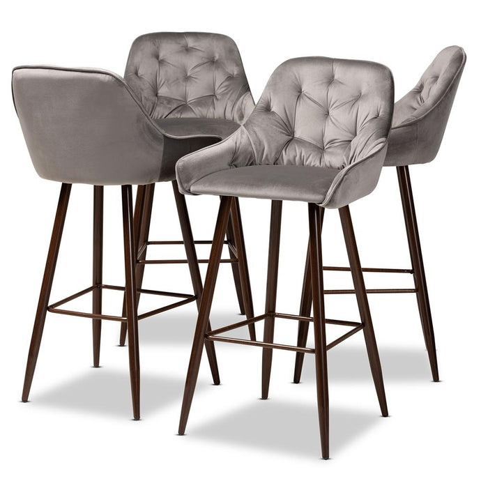 CATHERINE MODERN AND CONTEMPORARY GREY VELVET FABRIC UPHOLSTERED AND WALNUT FINISHED 4-PIECE BAR STOOL SET - Exquisite Home Furnishings Powered by IEE Brothers LLC