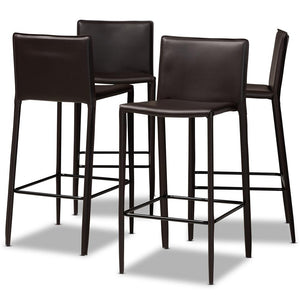 MALCOM MODERN AND CONTEMPORARY BROWN FAUX LEATHER UPHOLSTERED 4-PIECE BAR STOOL - Exquisite Home Furnishings Powered by IEE Brothers LLC