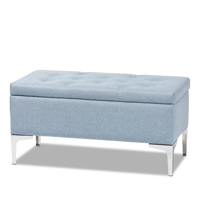 MABEL MODERN AND CONTEMPORARY TRANSITIONAL FABRIC UPHOLSTERED AND SILVER FINISHED METAL STORAGE OTTOMAN - Exquisite Home Furnishings Powered by IEE Brothers LLC