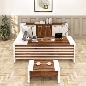 MODERN LEON 87 IN. WHITE AND BROWN L SHAPED DESK OFFICE SUITE FURNITURE (SET OF 3) - Exquisite Home Furnishings Powered by IEE Brothers LLC
