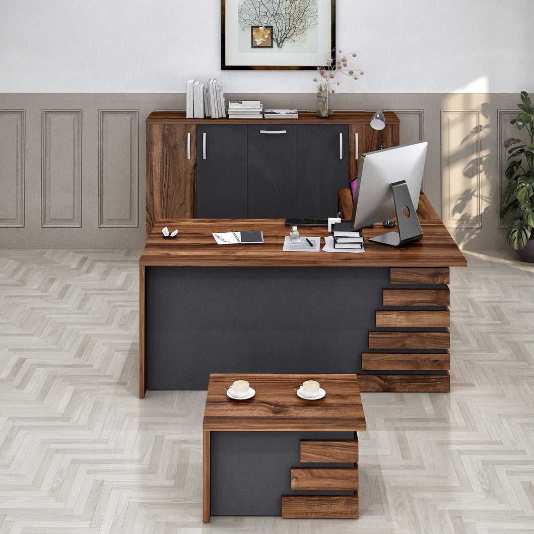 MODERN ATLAS LIGHT BROWN AND GREY L SHAPED DESK OFFICE SUITE FURNITURE (SET OF 3) - Exquisite Home Furnishings Powered by IEE Brothers LLC