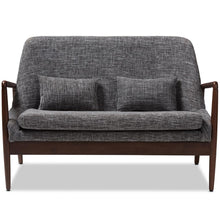 Load image into Gallery viewer, CARTER MID-CENTURY MODERN WALNUT WOOD GREY FABRIC UPHOLSTERED 2-SEATER LOVESEAT - Exquisite Home Furnishings Powered by IEE Brothers LLC
