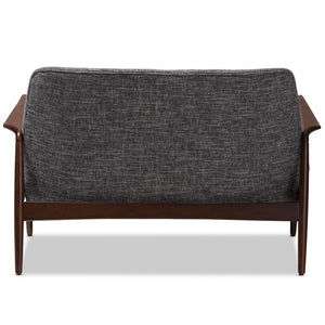CARTER MID-CENTURY MODERN WALNUT WOOD GREY FABRIC UPHOLSTERED 2-SEATER LOVESEAT - Exquisite Home Furnishings Powered by IEE Brothers LLC