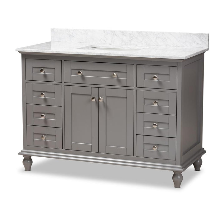 CAROLINE 48-INCH TRANSITIONAL GREY FINISHED WOOD AND MARBLE SINGLE SINK BATHROOM VANITY - Exquisite Home Furnishings Powered by IEE Brothers LLC