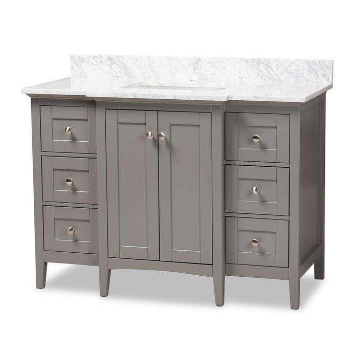 MURRAY 48-INCH TRANSITIONAL GREY FINISHED WOOD AND MARBLE SINK BATHROOM VANITY - Exquisite Home Furnishings Powered by IEE Brothers LLC