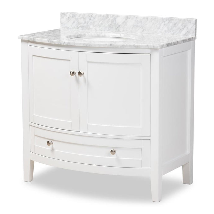 NICOLE 36-INCH TRANSITIONAL WHITE FINISHED WOOD AND MARBLE SINGLE SINK BATHROOM VANITY - Exquisite Home Furnishings Powered by IEE Brothers LLC