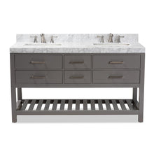 Load image into Gallery viewer, BAXTON STUDIO YOLANDA 60-INCH MODERN AND CONTEMPORARY GREY FINISHED WOOD AND MARBLE DOUBLE SINK BATHROOM VANITY - Exquisite Home Furnishings Powered by IEE Brothers LLC
