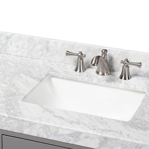 BAXTON STUDIO YOLANDA 60-INCH MODERN AND CONTEMPORARY GREY FINISHED WOOD AND MARBLE DOUBLE SINK BATHROOM VANITY - Exquisite Home Furnishings Powered by IEE Brothers LLC