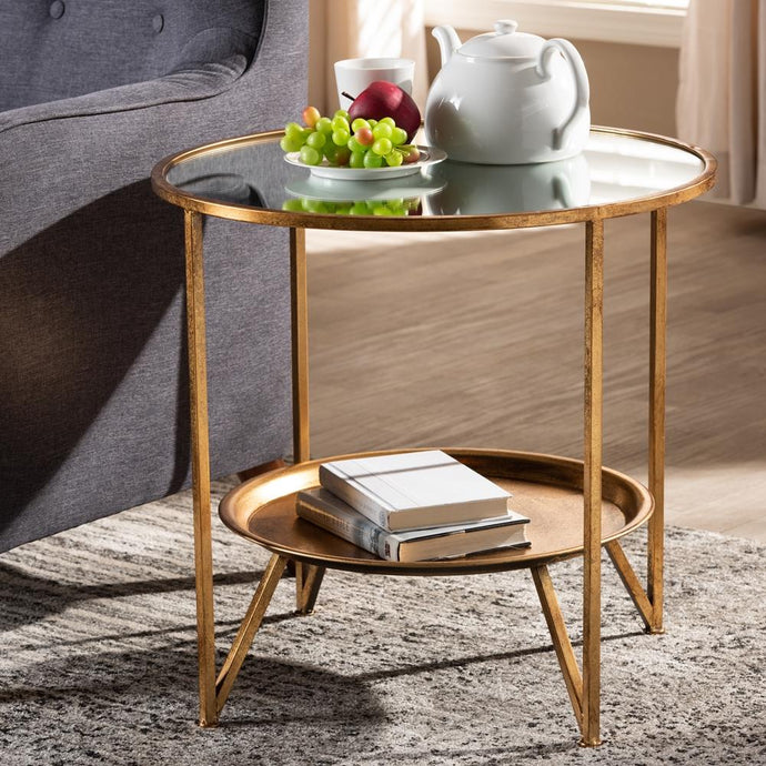 TAMSIN MODERN AND CONTEMPORARY ANTIQUE GOLD FINISHED METAL AND MIRRORED GLASS ACCENT TABLE WITH TRAY SHELF - Exquisite Home Furnishings Powered by IEE Brothers LLC