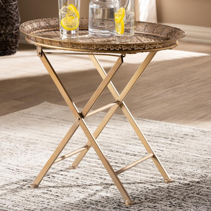 SABAH TRADITIONAL MOROCCAN INSPIRED MATTE ANTIQUE GOLD FINISHED METAL FOLDABLE ACCENT TRAY TABLE - Exquisite Home Furnishings Powered by IEE Brothers LLC
