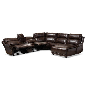 BAXTON STUDIO DACIO MODERN AND CONTEMPORARY BROWN FAUX LEATHER UPHOLSTERED 6-PIECE SECTIONAL RECLINER SOFA WITH 2 RECLINING SEATS - Exquisite Home Furnishings Powered by IEE Brothers LLC