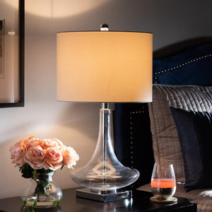 BAXTON STUDIO NOA MODERN AND CONTEMPORARY CLEAR GLASS AND SILVER METAL TEARDROP TABLE LAMP - Exquisite Home Furnishings Powered by IEE Brothers LLC
