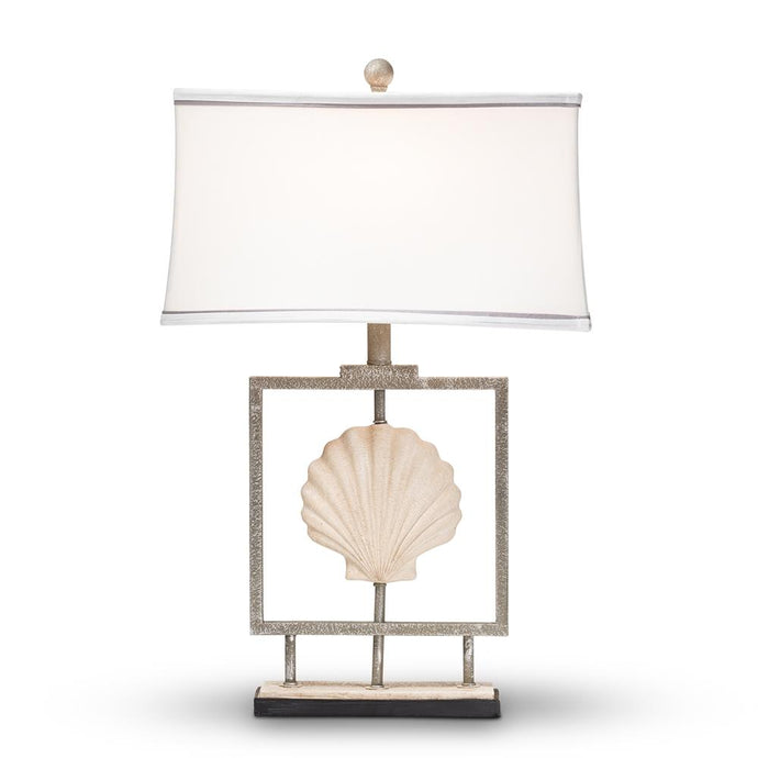 BAXTON STUDIO TREASA MODERN AND CONTEMPORARY ANTIQUE SILVER METAL FRAMED SEASHELL TABLE LAMP - Exquisite Home Furnishings Powered by IEE Brothers LLC