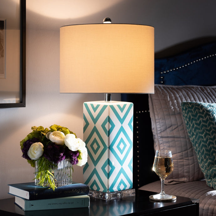 ROWEN MODERN AND CONTEMPORARY TURQUOISE AND WHITE DIAMOND PATTERNED CERAMIC TABLE LAMP