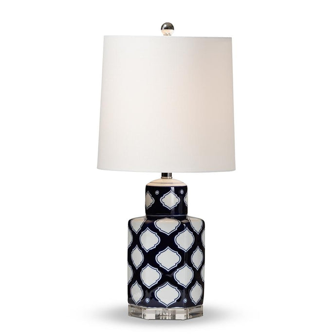 BAXTON STUDIO TIERNEY MODERN AND CONTEMPORARY DARK BLUE AND WHITE QUATREFOIL PATTERNED CERAMIC TABLE LAMP - Exquisite Home Furnishings Powered by IEE Brothers LLC