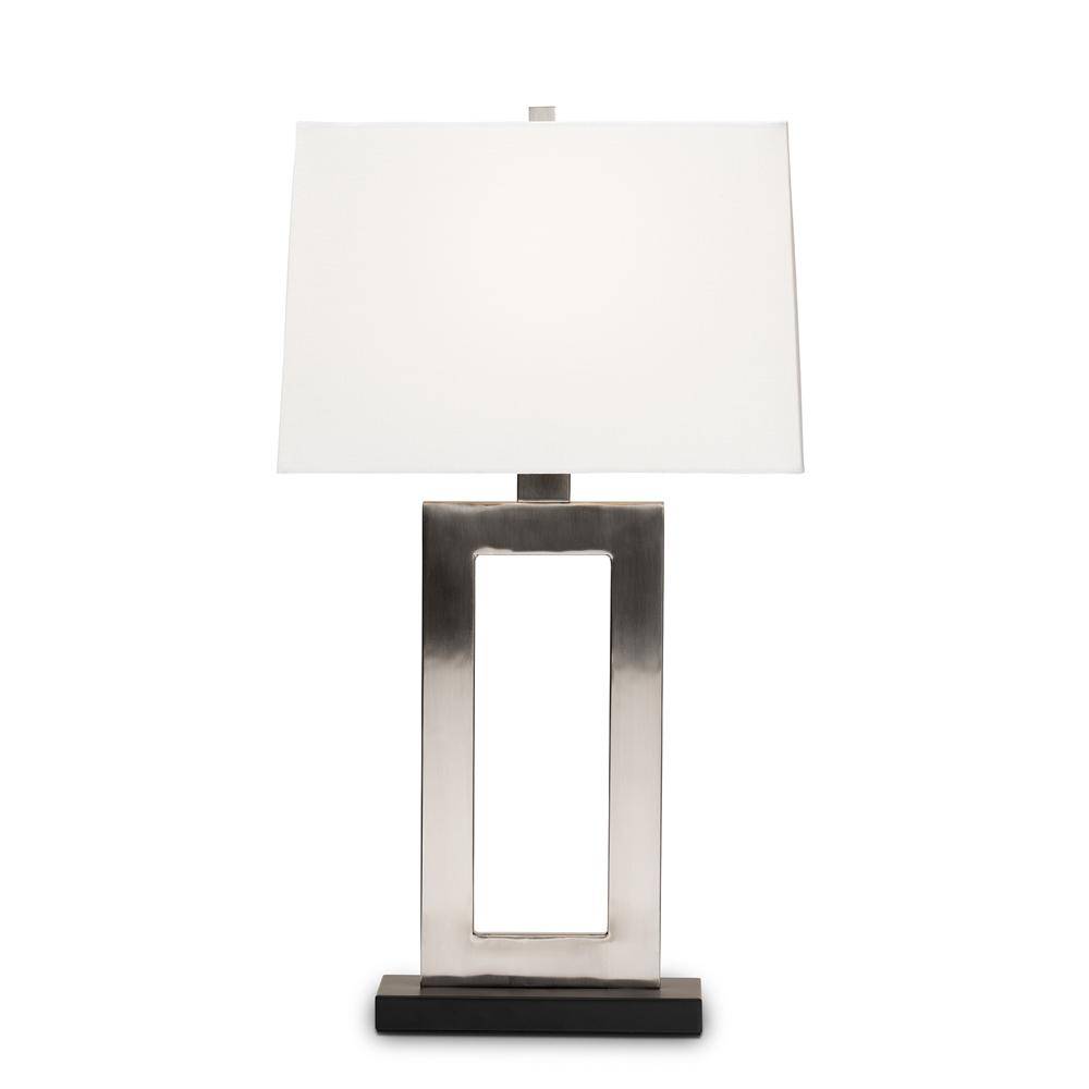 BAXTON STUDIO SERRE MODERN AND CONTEMPORARY SILVER METAL RECTANGULAR CUT-OUT TABLE LAMP - Exquisite Home Furnishings Powered by IEE Brothers LLC
