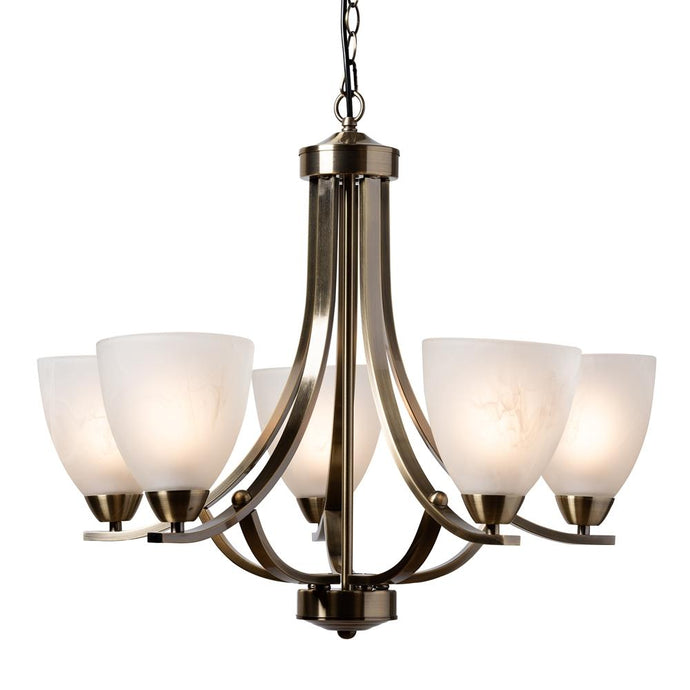BAXTON STUDIO CIARAN MODERN AND CONTEMPORARY ANTIQUE BRASS METAL AND FROSTED GLASS 5-LIGHT CHANDELIER - Exquisite Home Furnishings Powered by IEE Brothers LLC