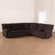 Load image into Gallery viewer, BAXTON STUDIO SABELLA MODERN AND CONTEMPORARY CHOCOLATE BROWN FABRIC UPHOLSTERED 7-PIECE RECLINING SECTIONAL SOFA - Exquisite Home Furnishings Powered by IEE Brothers LLC