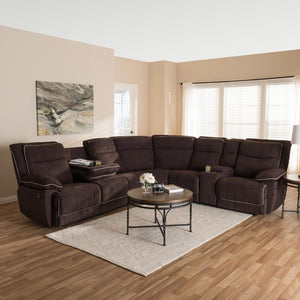 BAXTON STUDIO SABELLA MODERN AND CONTEMPORARY CHOCOLATE BROWN FABRIC UPHOLSTERED 7-PIECE RECLINING SECTIONAL SOFA - Exquisite Home Furnishings Powered by IEE Brothers LLC