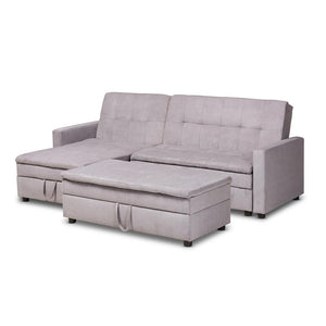 BAXTON STUDIO NOA MODERN AND CONTEMPORARY  UPHOLSTERED LEFT FACING STORAGE SECTIONAL SLEEPER SOFA WITH OTTOMAN - Exquisite Home Furnishings Powered by IEE Brothers LLC