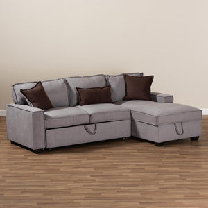 BAXTON STUDIO EMILE MODERN AND CONTEMPORARY UPHOLSTERED RIGHT FACING STORAGE SECTIONAL SOFA WITH PULL-OUT BED - Exquisite Home Furnishings Powered by IEE Brothers LLC