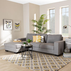 BAXTON STUDIO NEVIN MODERN AND CONTEMPORARY LIGHT GREY FABRIC UPHOLSTERED SECTIONAL SOFA WITH LEFT FACING CHAISE - Exquisite Home Furnishings Powered by IEE Brothers LLC