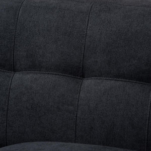 BAXTON STUDIO ALLISTER MID-CENTURY MODERN DARK GREY FABRIC UPHOLSTERED LOVESEAT - Exquisite Home Furnishings Powered by IEE Brothers LLC