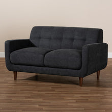 Load image into Gallery viewer, BAXTON STUDIO ALLISTER MID-CENTURY MODERN DARK GREY FABRIC UPHOLSTERED LOVESEAT - Exquisite Home Furnishings Powered by IEE Brothers LLC