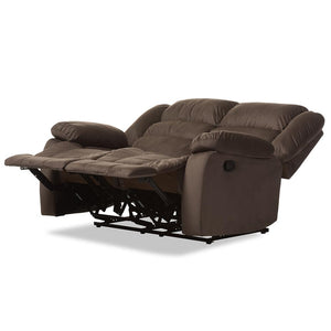 BAXTON STUDIO HOLLACE MODERN AND CONTEMPORARY TAUPE MICROSUEDE 2-SEATER RECLINER - Exquisite Home Furnishings Powered by IEE Brothers LLC