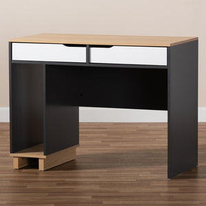 BAXTON STUDIO REED MID-CENTURY MODERN 2-DRAWER MULTICOLOR WOOD COMPUTER DESK - Exquisite Home Furnishings Powered by IEE Brothers LLC