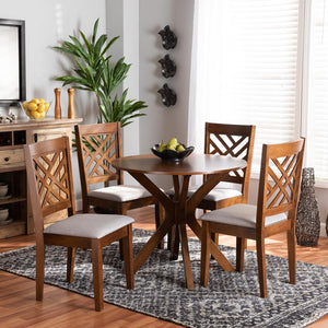 BAXTON STUDIO NORAH MODERN AND CONTEMPORARY GREY FABRIC UPHOLSTERED AND WALNUT BROWN FINISHED WOOD 5-PIECE DINING SET - Exquisite Home Furnishings Powered by IEE Brothers LLC