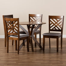 Load image into Gallery viewer, BAXTON STUDIO NORAH MODERN AND CONTEMPORARY GREY FABRIC UPHOLSTERED AND WALNUT BROWN FINISHED WOOD 5-PIECE DINING SET - Exquisite Home Furnishings Powered by IEE Brothers LLC