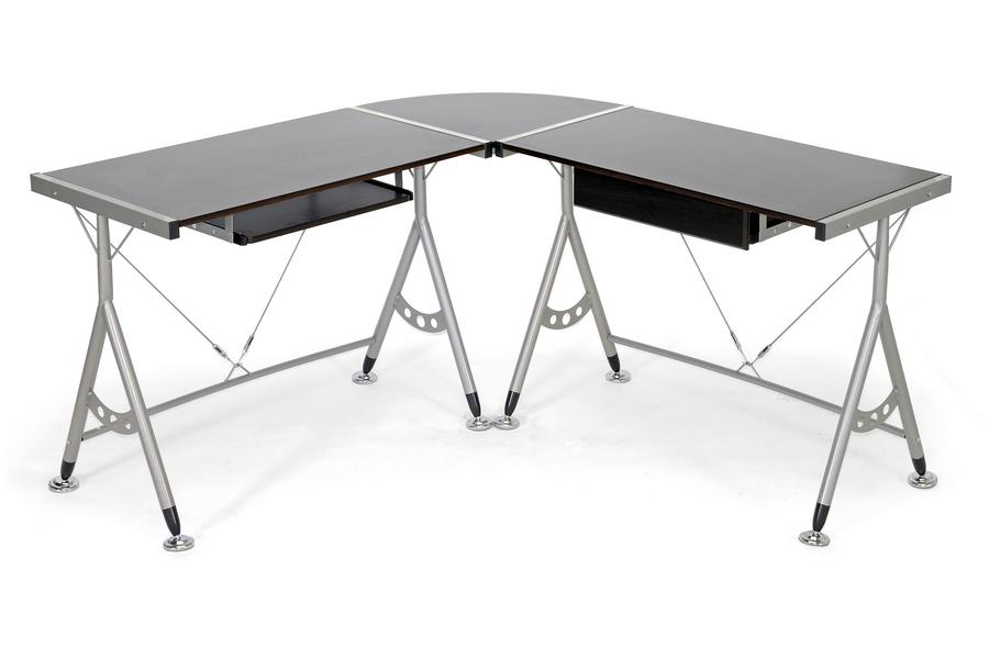 BAXTON STUDIO ELBURN DARK BROWN L-SHAPED MODERN COMPUTER DESK - Exquisite Home Furnishings Powered by IEE Brothers LLC