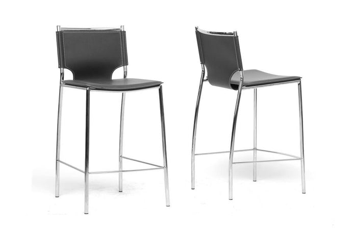 MONTCLARE BLACK LEATHER MODERN COUNTER STOOL (SET OF 2) - Exquisite Home Furnishings Powered by IEE Brothers LLC