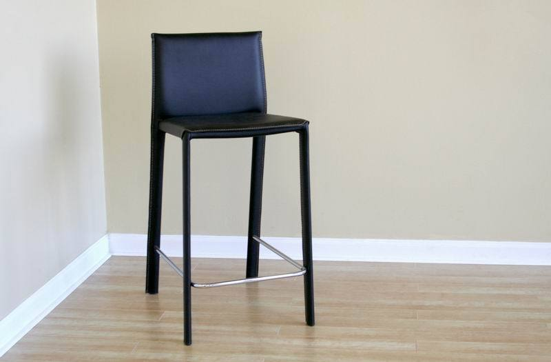 CRAWFORD BLACK LEATHER COUNTER HEIGHT STOOL (SET OF 2) - Exquisite Home Furnishings Powered by IEE Brothers LLC