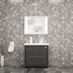 ALESSIO BATHROOM VANITY AND CERAMIC SINK COMBO WITH LED MIRROR - Exquisite Home Furnishings Powered by IEE Brothers LLC
