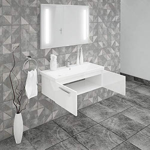 ASPE BATHROOM VANITY AND CERAMIC SINK COMBO WITH LED MIRROR - Exquisite Home Furnishings Powered by IEE Brothers LLC