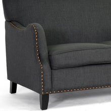 Load image into Gallery viewer, PENZANCE DARK GRAY LINEN LOVESEAT - Exquisite Home Furnishings Powered by IEE Brothers LLC