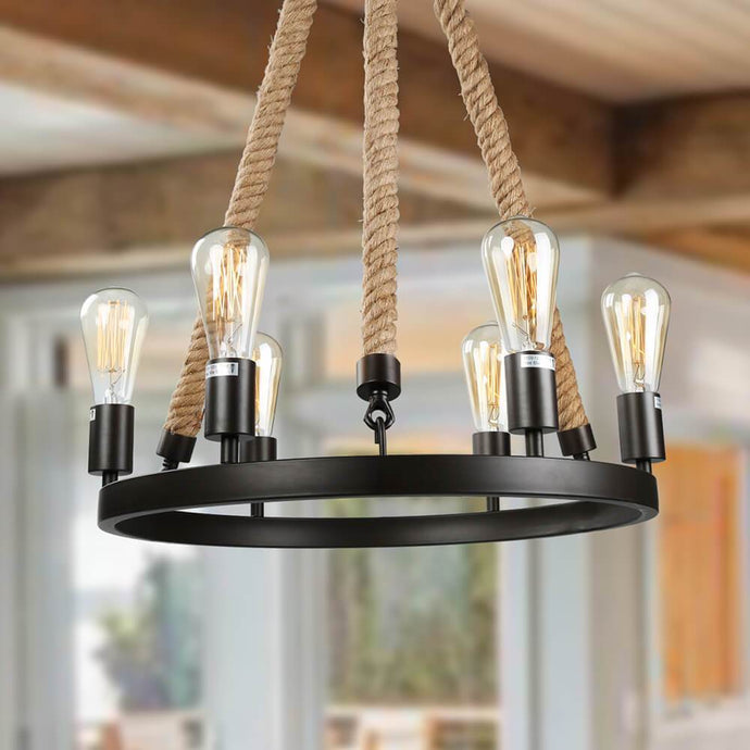 ROPE WAGON WHEEL PENDANT - 6 LIGHTS - Exquisite Home Furnishings Powered by IEE Brothers LLC