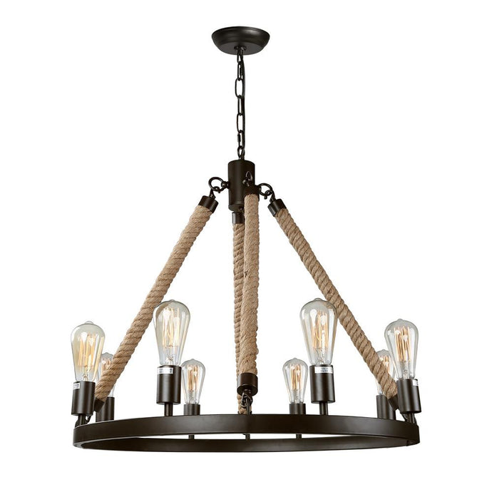 ROPE WAGON WHEEL PENDANT - 8 LIGHTS - Exquisite Home Furnishings Powered by IEE Brothers LLC