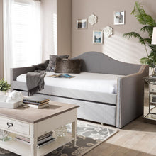 Load image into Gallery viewer, BAXTON STUDIO PRIME MODERN AND CONTEMPORARY GREY FABRIC UPHOLSTERED ARCHED BACK SOFA DAYBED WITH ROLL-OUT TRUNDLE GUEST BED - Exquisite Home Furnishings Powered by IEE Brothers LLC