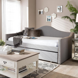 BAXTON STUDIO PRIME MODERN AND CONTEMPORARY GREY FABRIC UPHOLSTERED ARCHED BACK SOFA DAYBED WITH ROLL-OUT TRUNDLE GUEST BED - Exquisite Home Furnishings Powered by IEE Brothers LLC