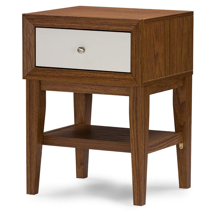 GASTON TWO-TONE WALNUT AND WHITE MODERN ACCENT TABLE AND NIGHTSTAND - Exquisite Home Furnishings Powered by IEE Brothers LLC