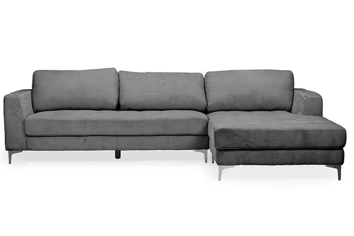 BAXTON STUDIO AGNEW CONTEMPORARY GREY MICROFIBER RIGHT FACING SECTIONAL SOFA - Exquisite Home Furnishings Powered by IEE Brothers LLC