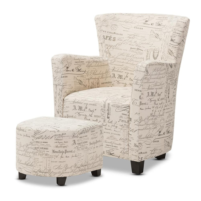 BAXTON STUDIO BENSON FRENCH SCRIPT PATTERNED FABRIC CLUB CHAIR AND OTTOMAN SET - Exquisite Home Furnishings Powered by IEE Brothers LLC