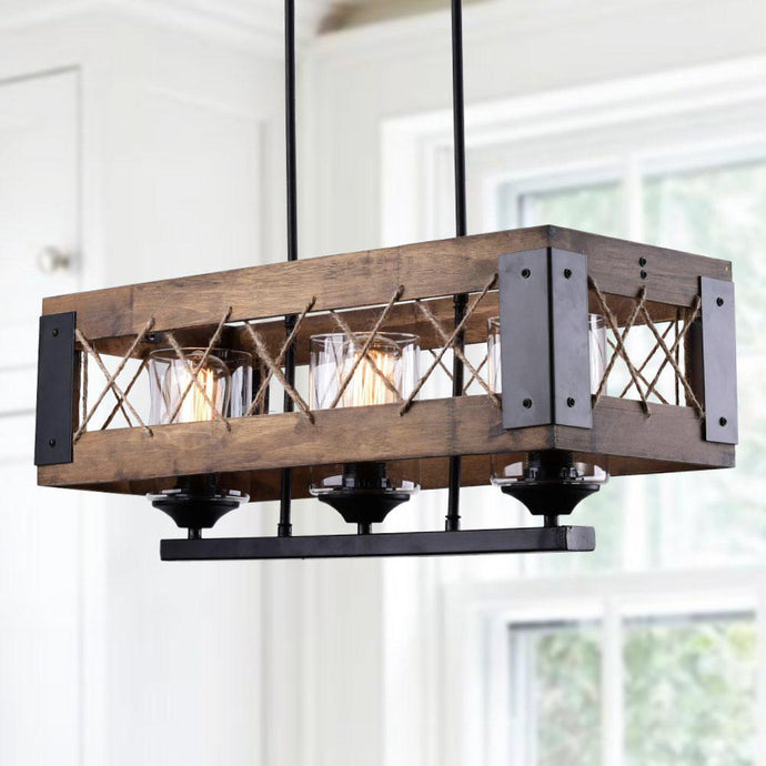 RECTANGLE BOX PENDANT LIGHT - 3 LIGHTS - Exquisite Home Furnishings Powered by IEE Brothers LLC
